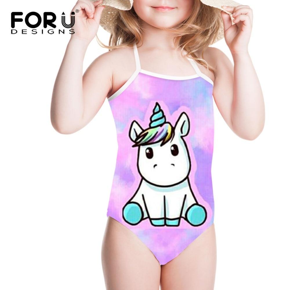 87c2b37c40f28 FORUDESIGNS Rainbow Unicorn Impressão One-piece Ternos Maiô Menina Swimwear  Crianças Natação Desgaste Do Bebê