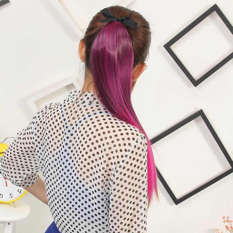 """Jeedou прямой синтетический конский хвост 22 """"95 г Синий Розовый Красный Радужный Омбре цвет ленты шнурок конский хвост Vitality косплей волос"""