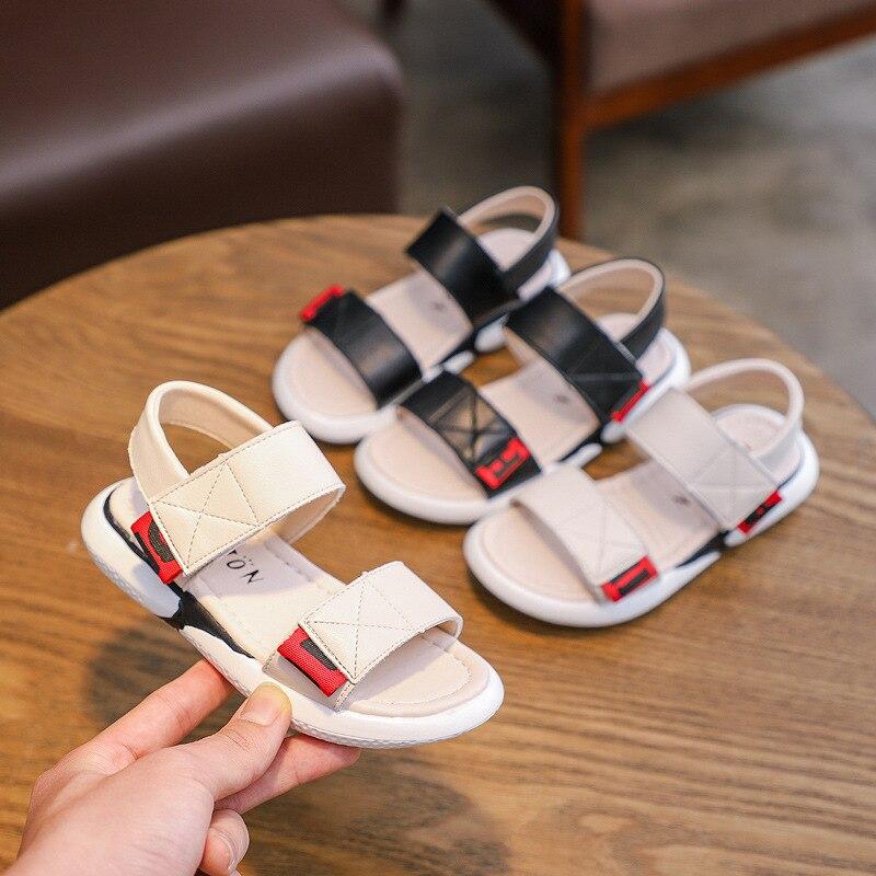 Summer Children Kids Girls Leopard Solid Flock Sandals Beach Princess Shoes