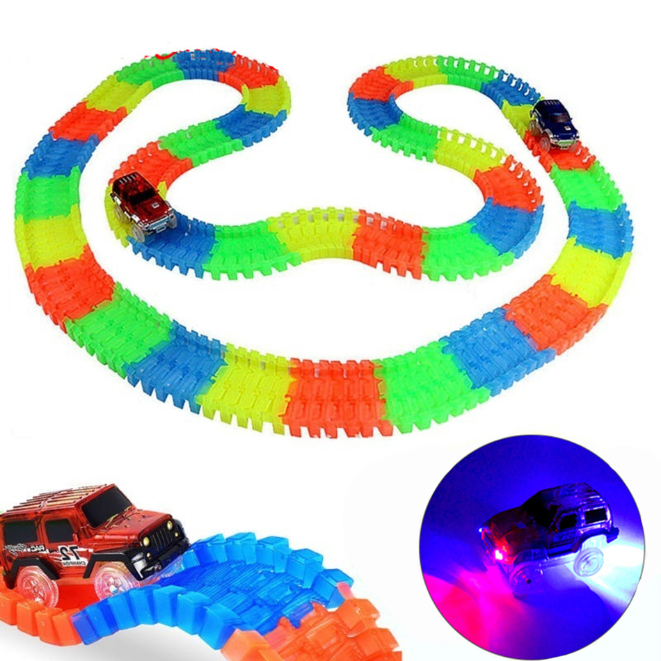 Glowing Racing Track Bend Flex Flash in the Dark Assembly Led Light Track Car Flexible Glowing Tracks Toy 165/220/240pcs WJ560