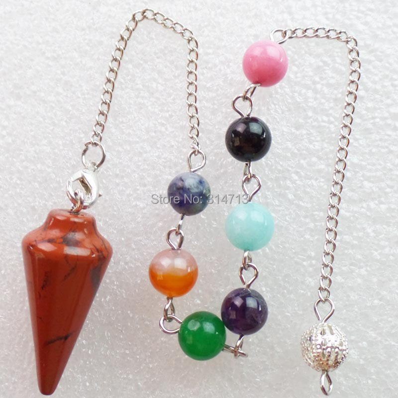 (Min.order 10$ mix)Wholesale 1 piese Red Stone 32X15MM Pendulum With 7pcs Mixed 8mm beads And The Chain length 250mm