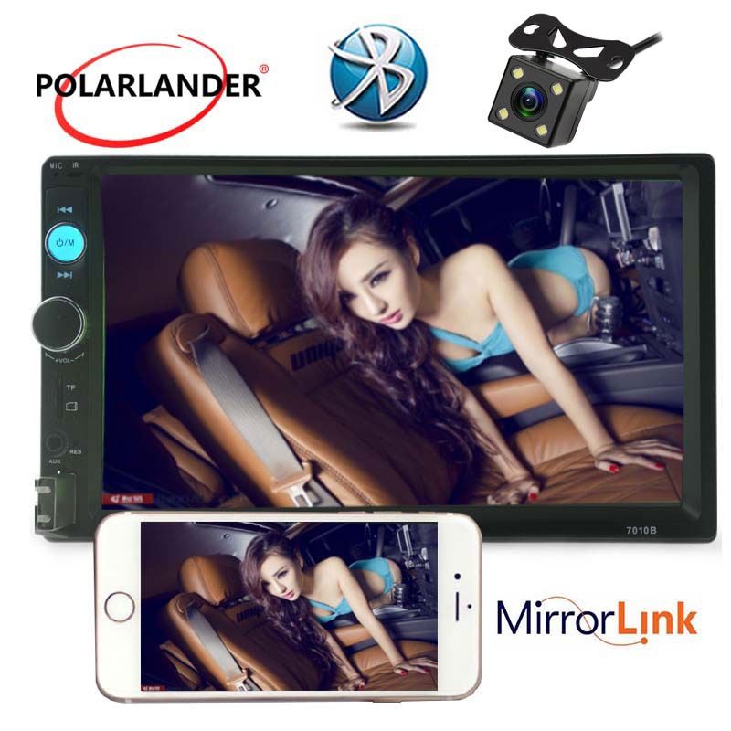 7 inch 2 din bluetooth Car Radio Audio Video stereo with Rear View Camera USB TF AUX in FM touch screen MP5 player Mirror Link hot 7020g car bluetooth audio stereo mp5 player with rearview camera 7 inch touch screen gps navigation fm function with camera