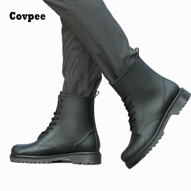 2017 ankle boots for men rain boots summer boots PVC rainboots solid cross-tied fashion mens rubber