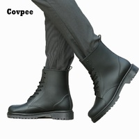 LCX 2017 Ankle Boots For Men Rain Boots Summer Boots PVC Rainboots Solid Cross Tied Fashion
