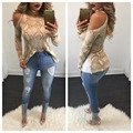 Halloween Women Fashion print Snake skin T shirt long sleeve Lady crop top off shoulder sexy Tops Tees camisetas mujer
