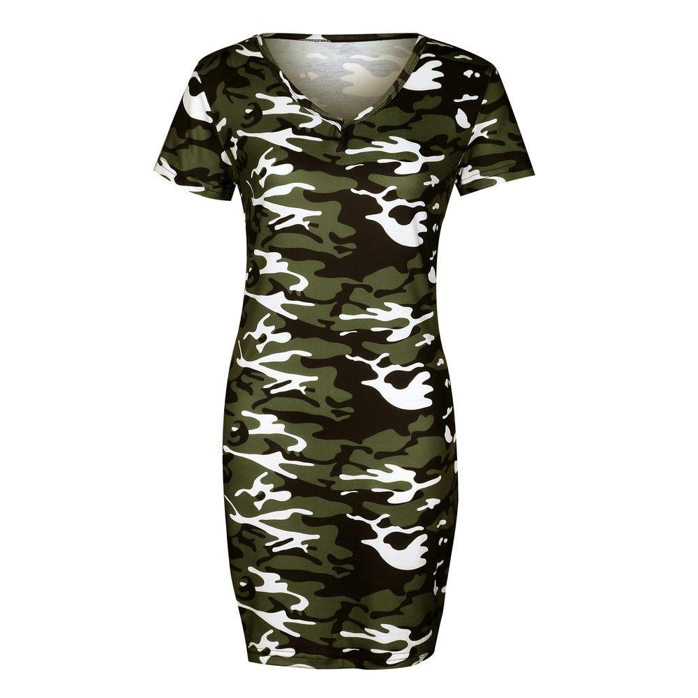 Camouflage Print Sommerkleid 2018 Frauen Kurzarm Casual Dress ...