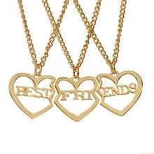 Colar com pingente de coração, colar de pingente de coração quebrado, moda 3, pçs/set, costura, melhores amigos para sempre, colar de casal