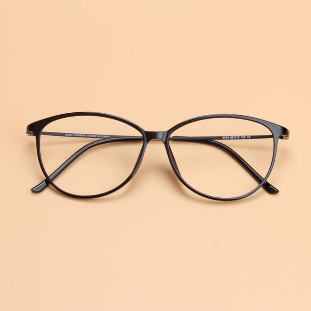 Ultraligeros Mujeres Cat Eye Glasses Frame Plástico Acero De Tungsteno Calidad Estilo Simple Óptica Lentes de Prescripción de Gafas puede Llenar