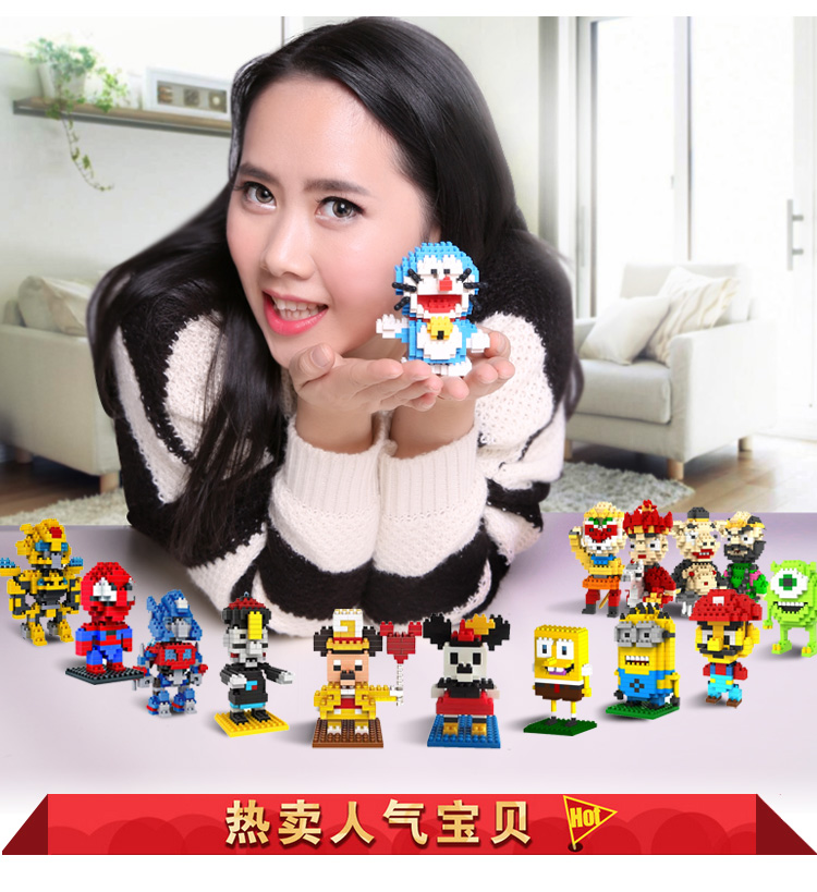 LOZ Blocks Diamond Building Blocks Action Figure The Avenger pikachu Minions Mario Spongebob Mickey 3D Bricks Toy Christmas gift