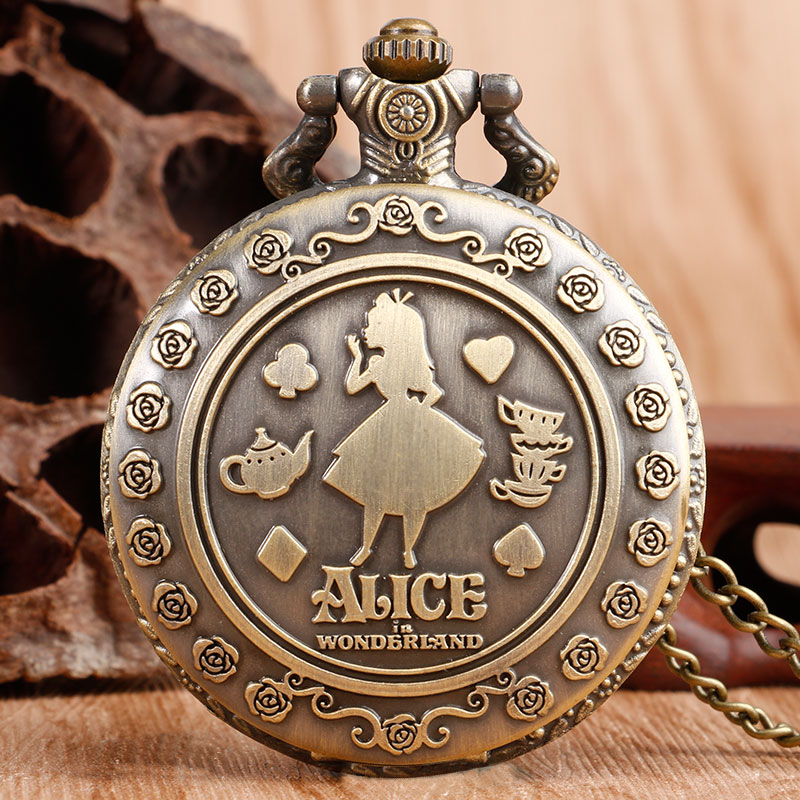 Classic Modern Pendant Alice In Wonderland Fashion Pocket Watch Necklace Women's Luxury Gifts Chain Copper Flower Quartz Clock
