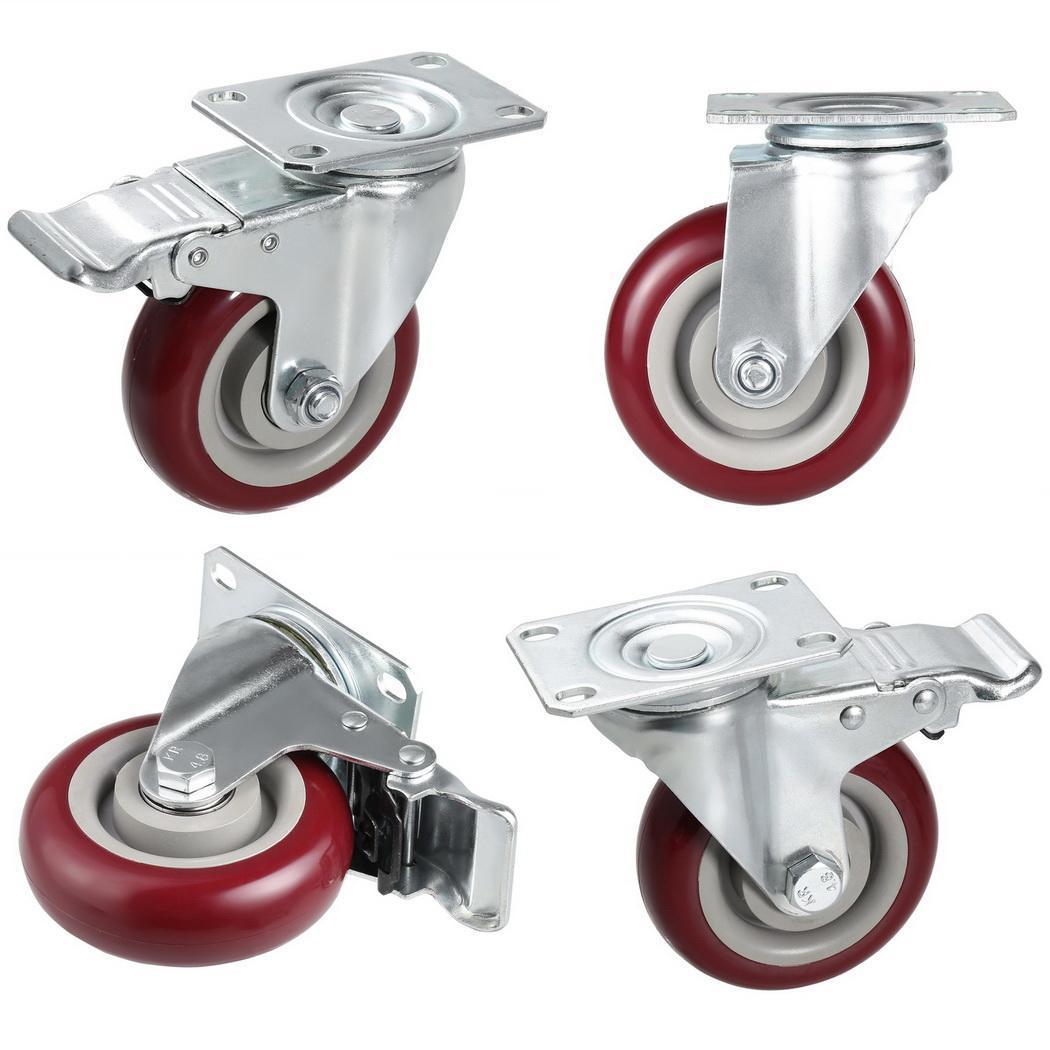 4 pouces roulettes en PVC roulettes pivotantes rouleau x frein de verrouillage Total 900 lb (300 pièce) panier paquet de 4
