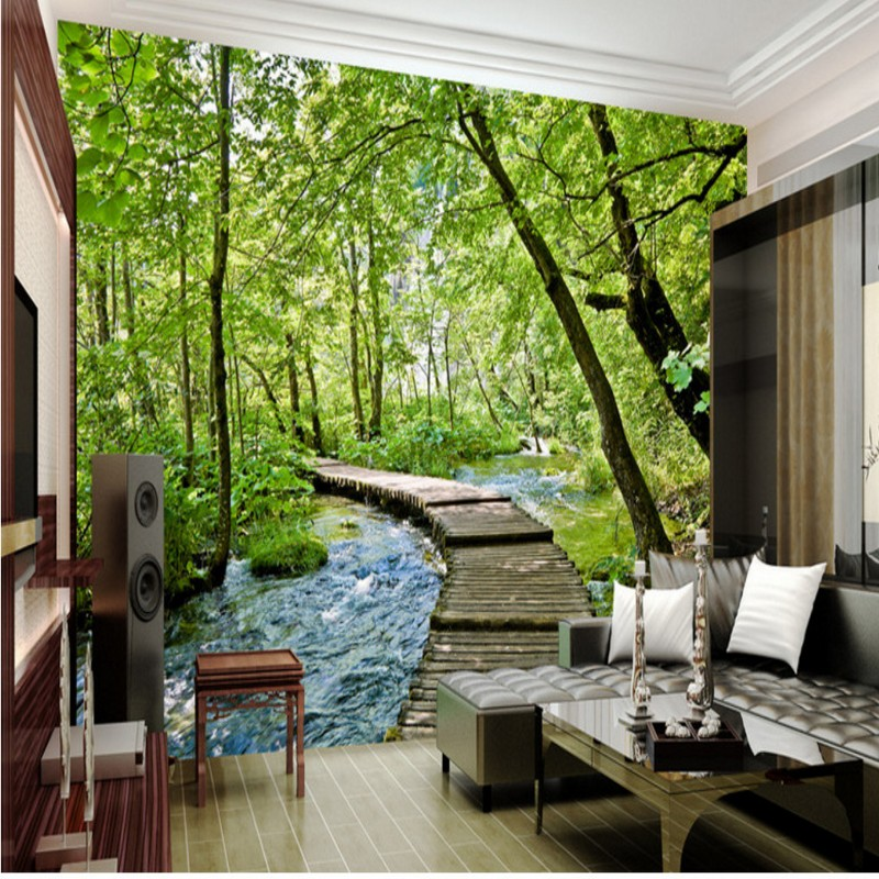 цены 3D photo wallpaper Jungle bridge water 3D landscape background wall painting wallpaper mural living room bedroom home decoration
