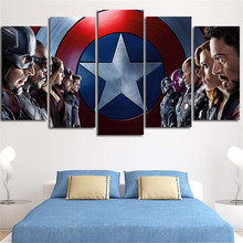2016 5Plane Large Size Wall Painting Captain America Modern Home Decor Modular Tableau Canvas Art Picture Poster For Living Room
