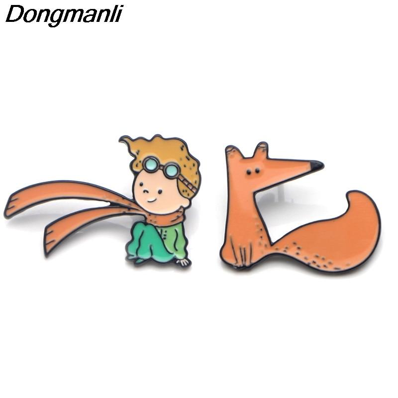 P3674 Dongmanli Le Petit Prince et renard mignon broches en émail métallique et broches pour épinglette sac à dos sacs Badge cadeaux Cool