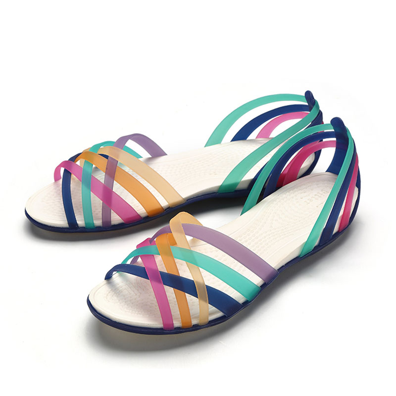 Rainbow Jelly Shoes Woman Wedges Sandalias Women Sandals Summer New Candy Color Peep Toe Stappy Beach Valentine Mujer Slippers waikol new women summer heavy bottomed sandals ladies beach slippers wedges shoes platform candy color casual shoes wholesale
