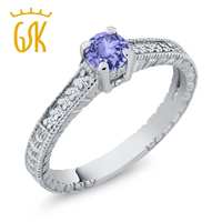 0 42 Ct Round Blue Tanzanite White Topaz 925 Sterling Silver Engagement Ring