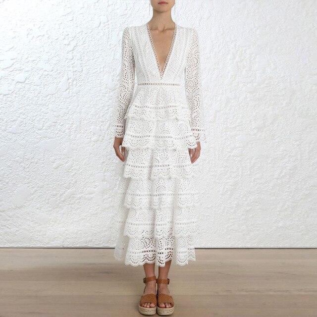 High-end-Runway Kleid 2018 Frauen Herbst Sexy Elegante V-ausschnitt Langarm Schicht Weiß Aushöhlen Spitze Maxi Kleid