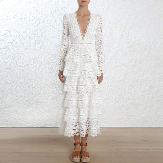 High-end Vestido Pista 2018 Mulheres Outono Elegante Sexy Com Decote Em V Manga Longa Camada Branco Oco Out Lace Vestido Maxi