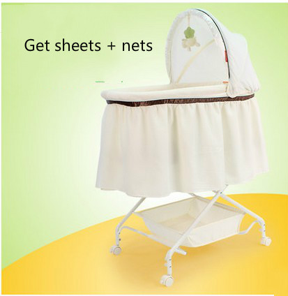 Newborn baby crib bed shaker cradle multifunction portable baby bed shook with pulleys цена