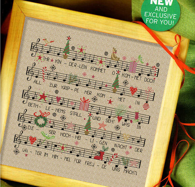 Christmas song cross stitch kit x-mas gift cartoon design 14ct 11ct linen flaxen canvas embroidery DIY needlework