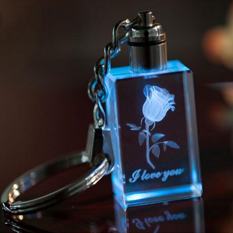 Přizpůsobený design Obdélník Barevné LED Crystal Keychains pro svatební Favor Módní propagační dárky Dobré balení zdarma Shipp