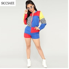 Checkered Bodysuit Contrast Color Block Patchwork Playsuits Casual Outfits Shorts Motocycle Streetwear Plus Size Clothes Plaid цены