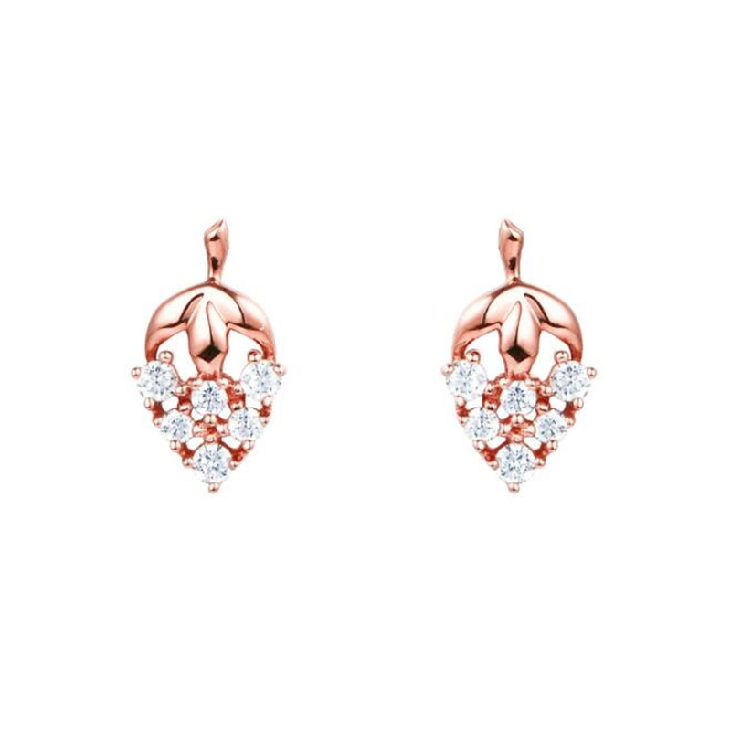 цены на 2018 New Jewelry Rose Gold Color Crystal Grape Stud Earrings High Quality 18K Gold AU750 Fruit Jewelry Gift For Women Girl  в интернет-магазинах