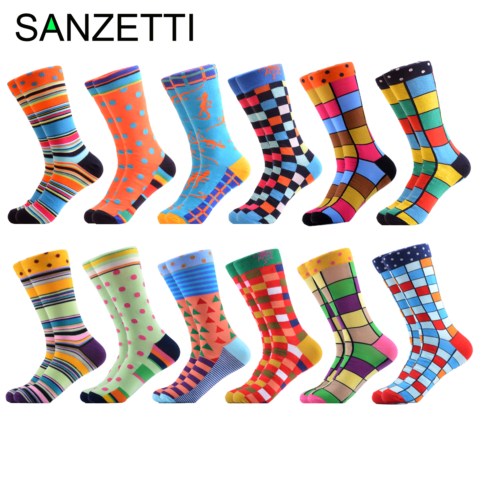 SANZETTI Men Colorful Casual Crew Socks Combed Cotton Design Harajuku Socks Hip Hop Geometric Plaid Stripe Dot Gifts Happy Socks