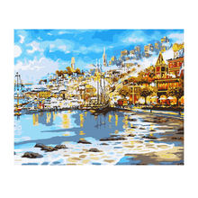 WONZOM Seaside Town Painting By Numbers Ocean Oil Cuadros Decoracion Acrylic Paint On Canvas Modern 9 Type Home Decor