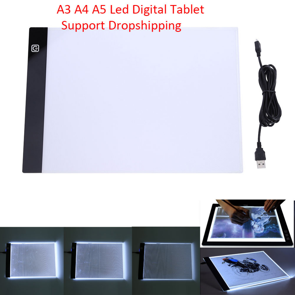 Grafiken Tablet A3 A4 A5 LED Zeichnung Tablet Dünne Art Schablone Zeichnung Bord Licht Box Tracing Tabelle Pad Drei- ebene Dropshipping