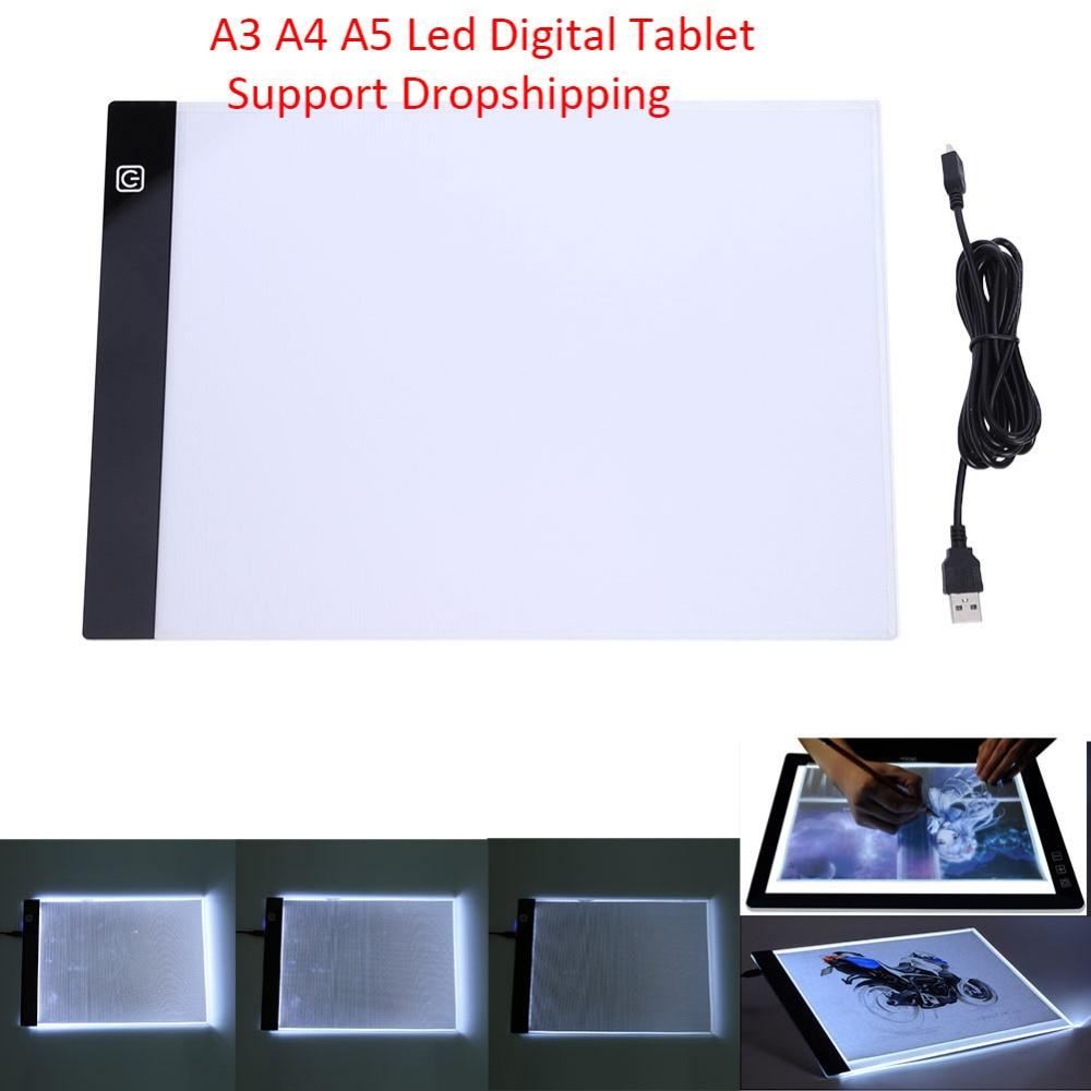 Grafik Tablet A3 A4 A5 LED tegningstablet Tyndt kunststencil Tegning lys panelet boks kopi bord Pad tre niveauer ...