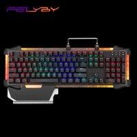 FELYBY USB mechanical keyboard hot multicolor backlight metal game keyboard and professional ergonomics