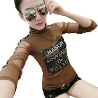 Punk Style Autumn T Shirt Women Harajuku Turtleneck Long Sleeve Patchwork Rivet Tshirt Sexy Slim Stretch