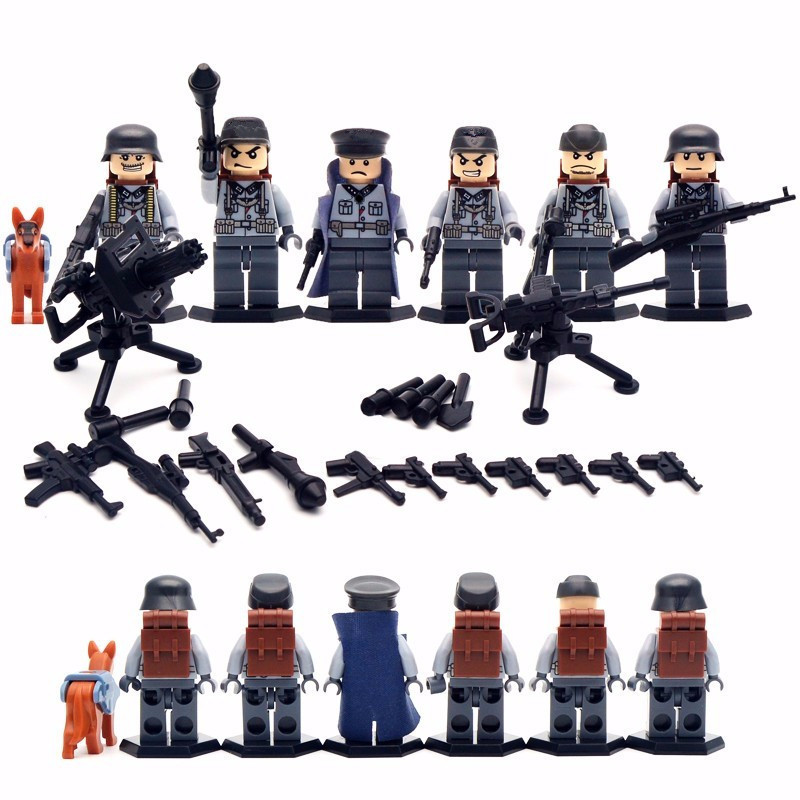 6pcs German Army World War 2 Military Soldier Weapon Gun SWAT Marine Corps Building Blocks Brick Figure Boy Gift Educational Toy xinlexin 317p 4in1 military boys blocks soldier war weapon cannon dog bricks building blocks sets swat classic toys for children