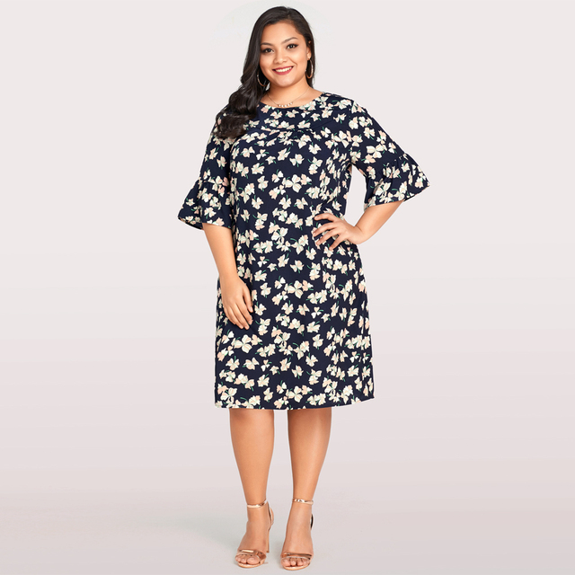 New Elegant Women Plus Size Dress Floral Print Flared Sleeve Casual