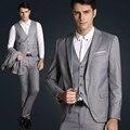 Куртка + жилет + брюки новый 2015 мужская мода марка высокого класса свадебное платье товары высокого качества Блейзер Костюмы Мужской деловой костюмы