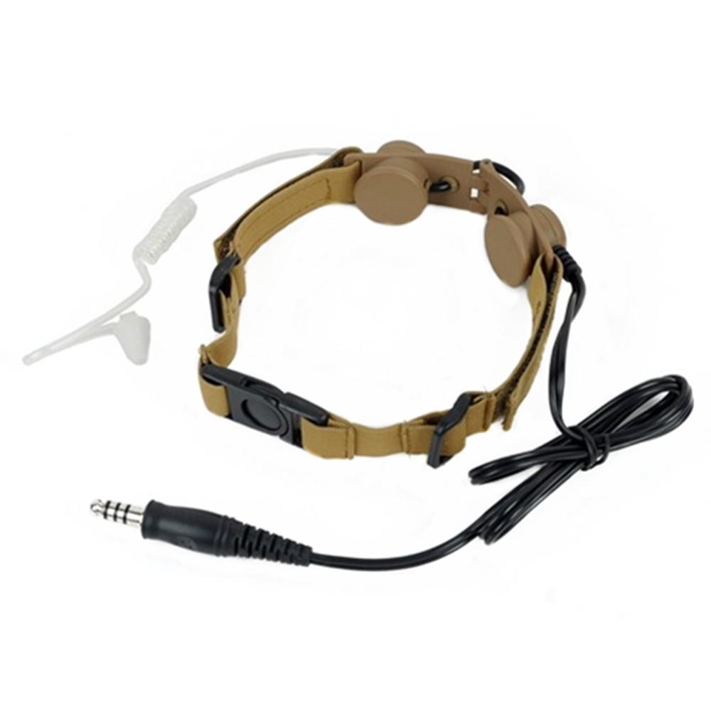 Tactical headphone military headset radio use Throat Mic Headset (Tan gray black) (4)