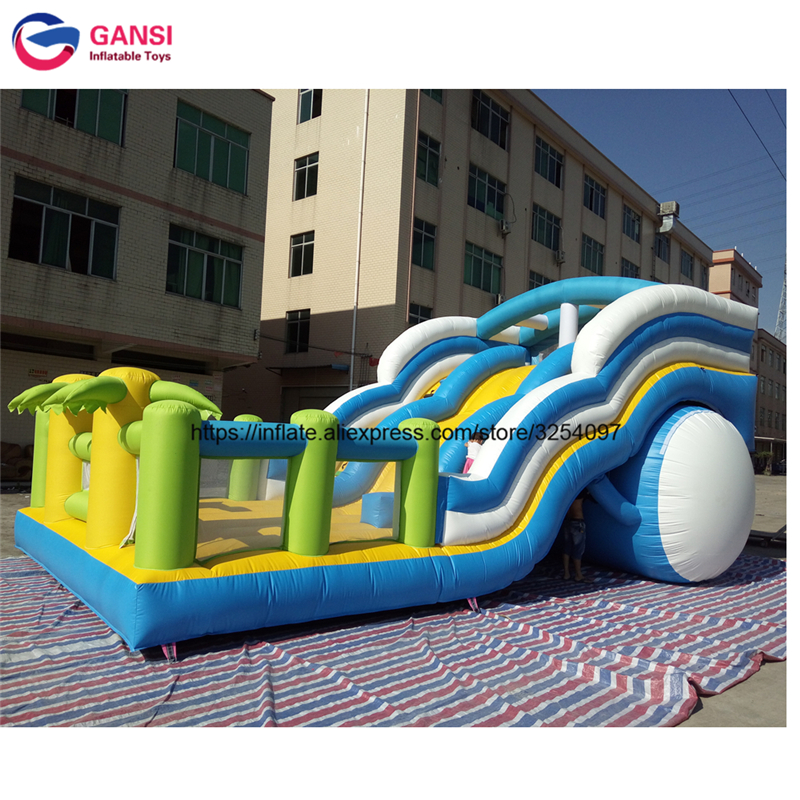 11*5.5m inflatable air castle with slide funny car design jumping slide with trees durable waterproof inflatable bouncing castle amusing summer water games slide inflatable jumping castle toy for sale