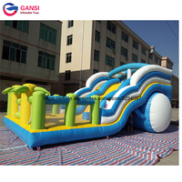 11*5.5m inflatable air castle with slide funny car design jumping slide with trees durable waterproof inflatable bouncing castle