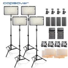 Capsaver Fotografia Luz De Vídeo LED Lighting Kit 4 em 1 Painel de led com Tripé 3200 K-5600 K CRI93 240 Diodos Emissores de Luz Estúdio de Fotografia lâmpada