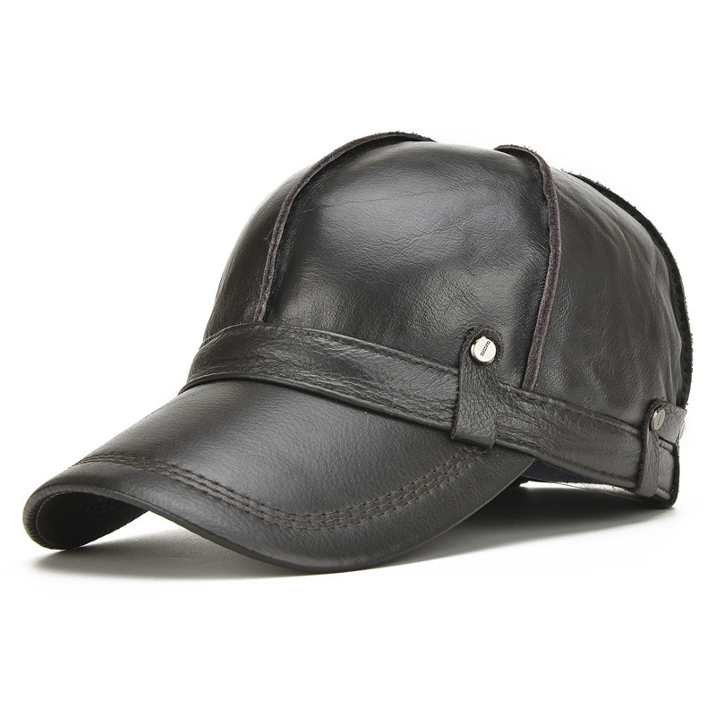 2017 Spring Male Genuine Leather Eagle Print 56-60CM Black/Brown Baseball Caps for Man Casual Street Glof Gorras Dad Hat B-7126