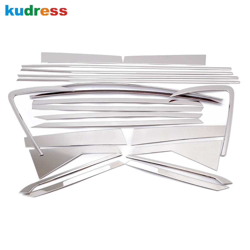 For KIA Carens 2013 Stainless Steel Chrome Door Full Window Frame+Center Pillars Window Sill Molding Trim Car Styling 22pcs/set for vauxhall opel astra j 2010 2014 stainless steel window frame moulding trim center pillar protector car styling accessories