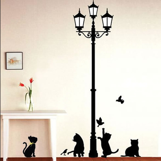 2pcs kids rooms diy wall stickers cats birds street light lamp art