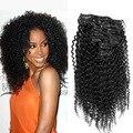 7 UNIDS/10 UNIDS 70G-220G Clip En Extensiones de Cabello Afro Rizado Rizado Brasileño de la Virgen Pinza de pelo de la Cabeza Llena de Cabello Clip En el Pelo Humano # 1B