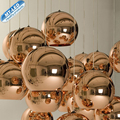 Modern LED Pendant Lamp Copper Sliver Shade Mirror Chandelier Light E27 Bulb Modern Christmas Glass Ball Lighting