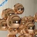 Modern Lamp LED colgante de cobre de la astilla sombra del espejo de la lámpara E27 bombilla de luz navidad moderna iluminación bola cristal