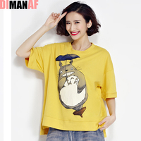 Plus Size Women T Shirt O Neck Kawaii Bear Pattern Print Summer Short Style Tumblr Tops