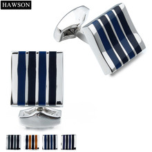 HAWSON French Shirt Cuff links with Box Hot Sale Enamel Jewelry Cufflink 4 Colors Available for your Shirt