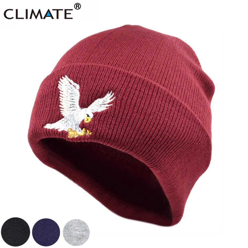 CLIMATE Men Women Winter Warm Beanie Hat USA Cool Eagle Hawks Warm Winter Soft Knitted Beanies Hat Cap For Adult Men Youth Women fashion novelty women s men s winter warm black full face cover three holes mask beanie hat cap hot sale cai0328