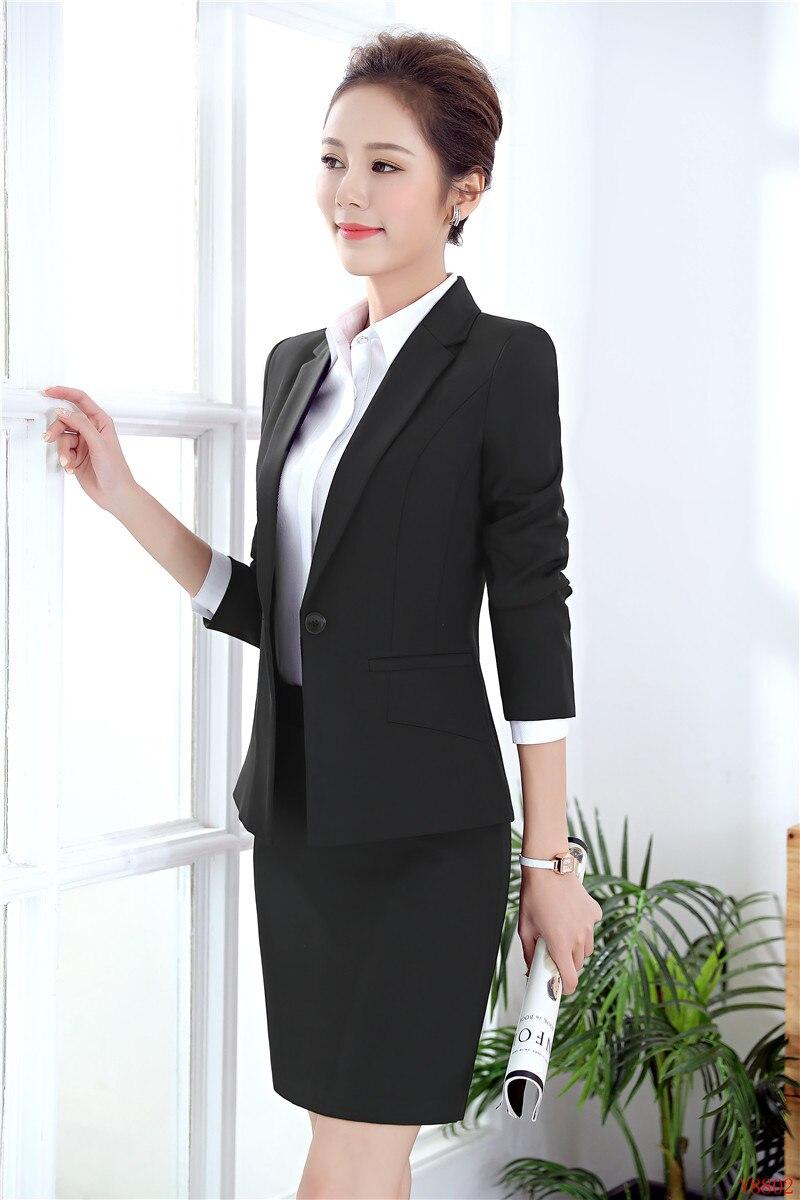 e3edbbe16868 Elegante Signore Donne Blazer E Gonna 2019 Set Con Formali Lavoro Giacche  Eleganti Ol Delle Vestiti Di ...